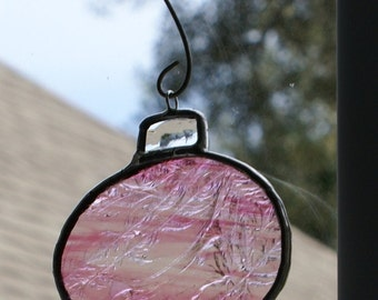 """Pink and Clear Glue Chip Glass """"Round"""" Ornament for your Christmas Tree or Holiday Package Embellishment"""