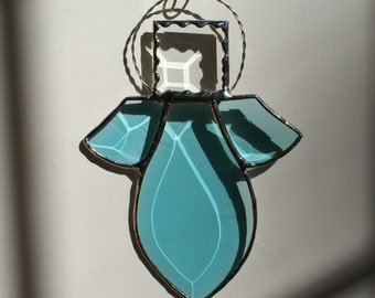 Teal Bevel Angel with Decorative Foil Head and Tinned Wire Halo