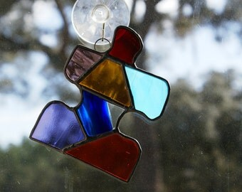 Stained Glass Autism Awareness Puzzle Piece in Brilliant Colors - Black Patina Finish