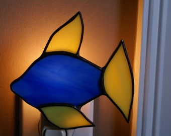 Tropical Fish Night light in Ocean Blue and Bright Yellow Colors