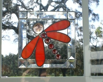 Orange/White Swirled Opalescent Stained Glass Dragonfly in Bevel Frame - 7.5 x 7.5 Dragonfly