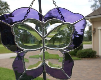 Grape Waterglass Bevelled Butterfly Panel - Unique Design
