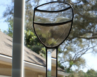 Zinfandel/Rose Wine Glass -   Stained Glass Suncatcher