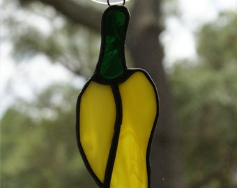 "Stained Glass Vivid ""Yellow Chili Pepper""  Suncatcher/Holiday Ornament/Package Embellishment - Black Patina Finish"