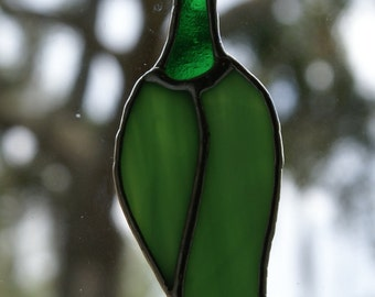 "Stained Glass Vivid ""Green Chili Pepper""  Suncatcher or Ornament or Package Embellishment"