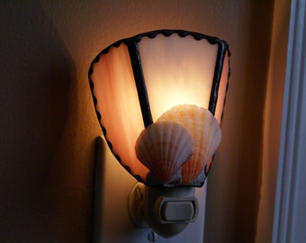 Pink and White Stained Glass Night Light w/Seashells Accents - Handcrafted Authentic Stained Glass - Authentic Seashells
