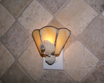 Seashell Accents Night Light - Handcrafted Authentic Stained Glass - Authentic Seashells - Wide Fan Design