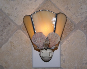 Amber Stained Glass Night Light w/Seashells Accents - Handcrafted Authentic Stained Glass - Authentic Seashells Number 4
