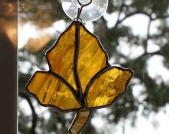 "Stained Glass ""Oak Tree Leaf""  Wispy Transluscent Glass Suncatcher Number 2"