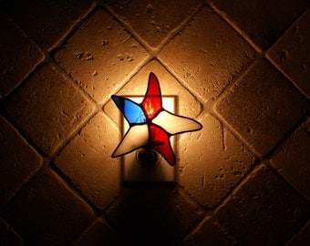 Patriotic Starfish Night Light  - Handcrafted Authentic Stained Glass - Great Gift Idea