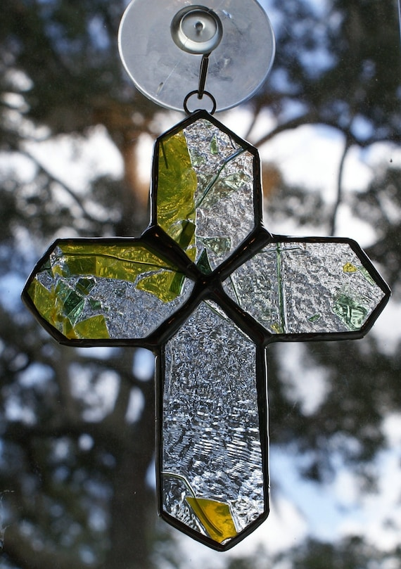 Green and Clear Fracture Streamer Glass Cross - Authentic Stained Glass -