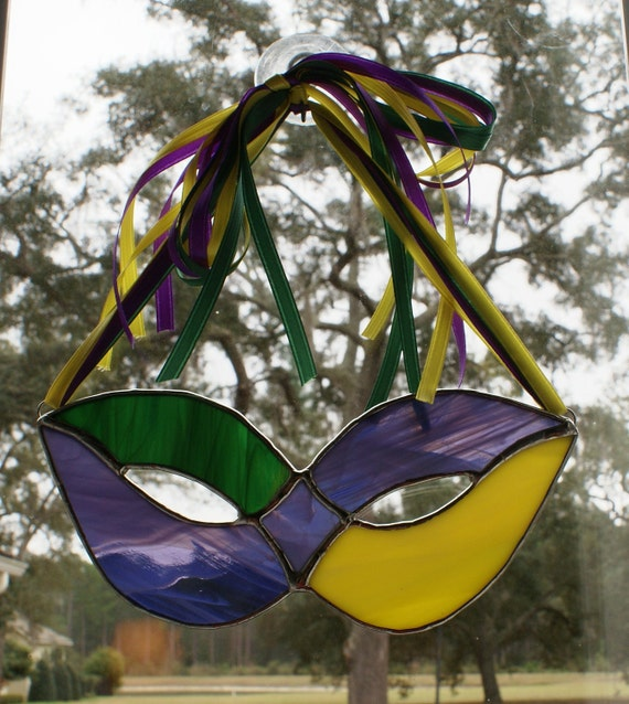 Stained Glass Mardi Gras Mask with Color Coordinating Ribbon Hanger - Mask Number 4