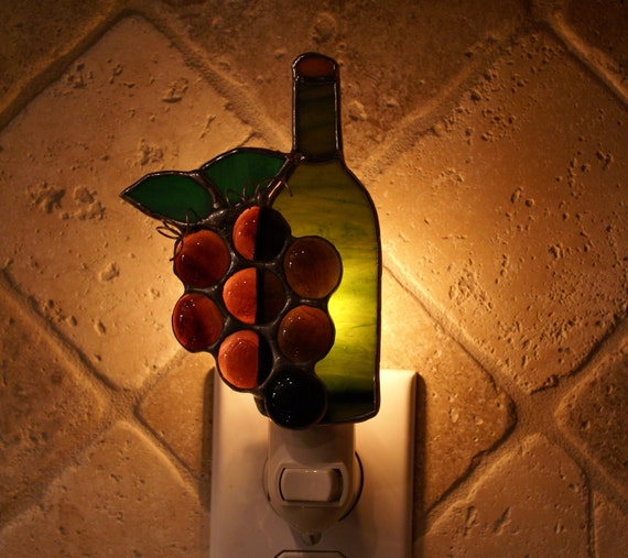 Grape Cluster with Wine Bottle Stained Glass Night Light