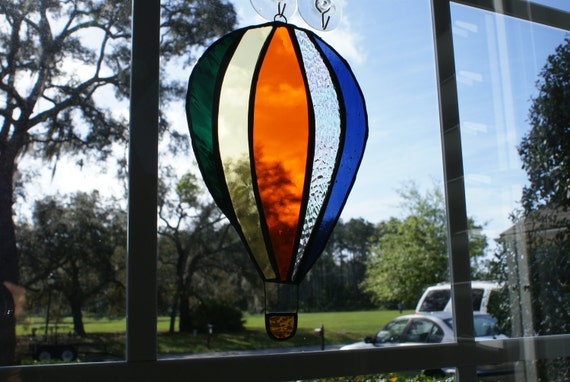 Hot Air Balloon in Authentic Stained Glass