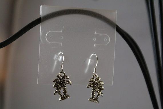 Twin Palm Trees Tibetan Silver Charm Earrings on Sterling Silver Findings