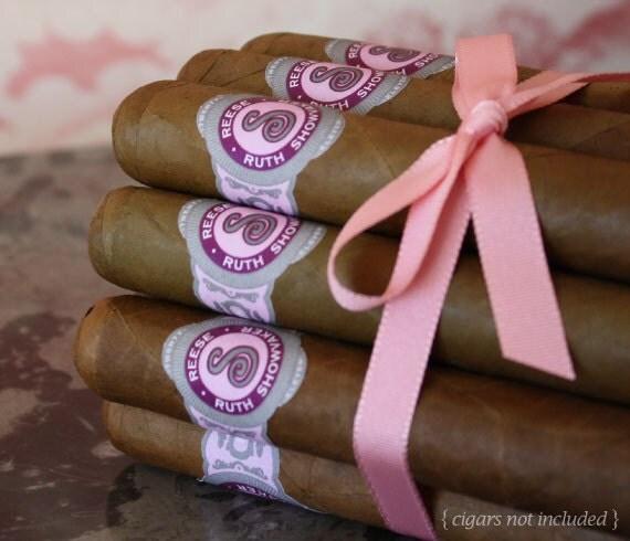 16 Cigar Bands - Custom Printed Pink Baby Girl Labels - Regal Monogram