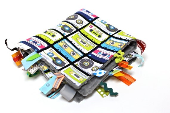 Hipster old school Baby sensory blanket toy, cassette tape 80's retro, cool unique gift present, modern baby shower