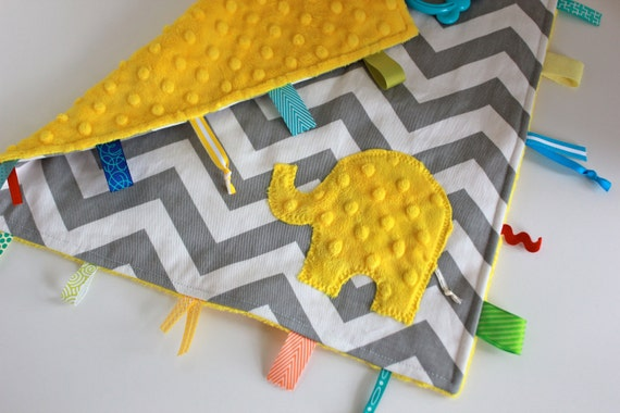 Yellow gray Chevron sensory baby blanket travel lovey - minky elephant or initial