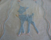 Reserved for MRSHEAP Baby deer chenille child's bedspread from 1950s