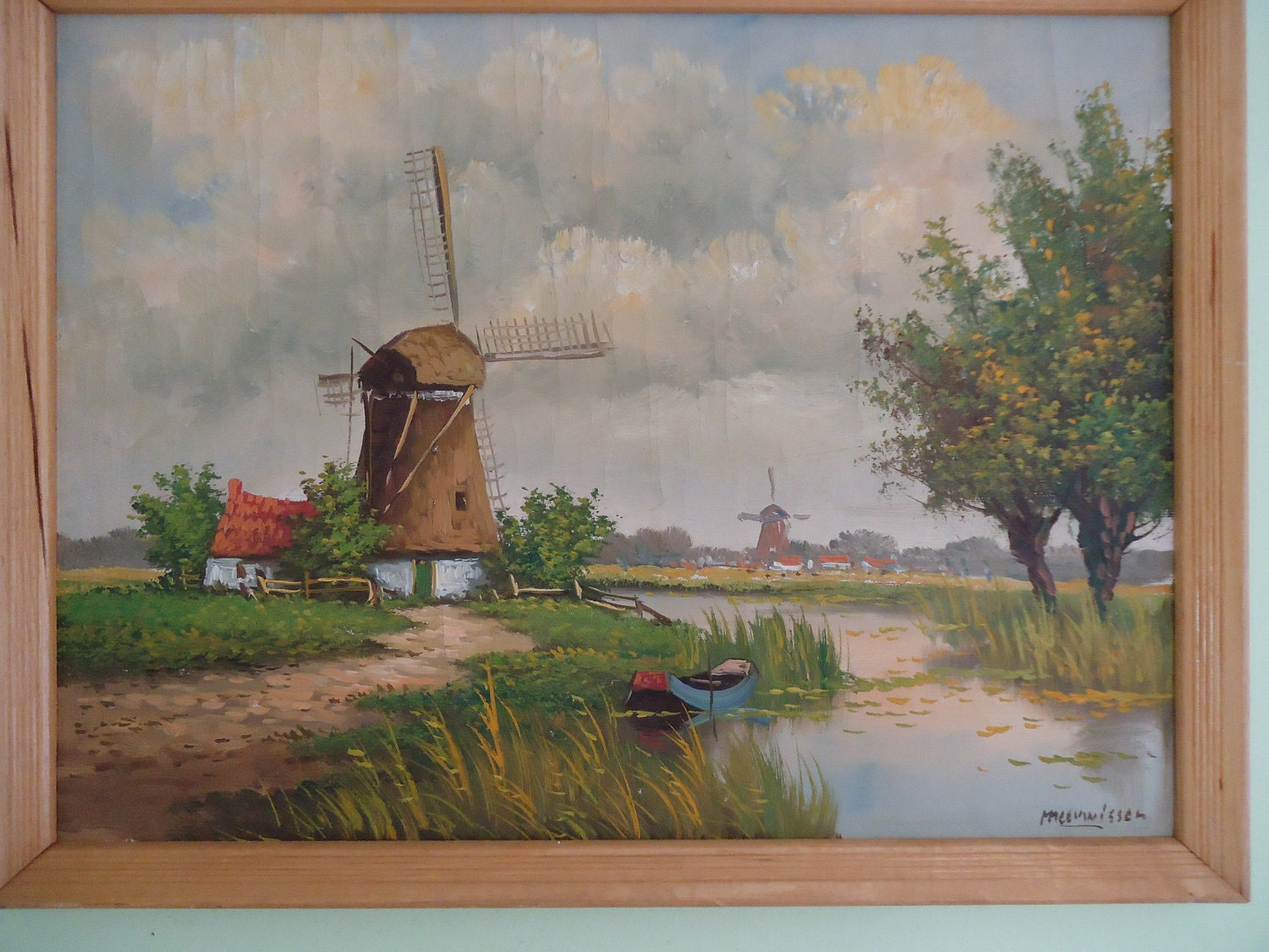 Vintage oil painting of a Dutch windmill