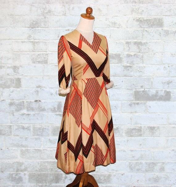 Vintage 60's Chevron Stripe Khaki Dress XS or S