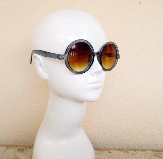 Vintage 70's Round Boho Sunglasses Gray Clear Frames