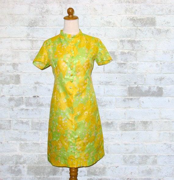 Vintage 60's PAPER Dress Mod Floral Print XS