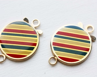 Enamel Clasp, Large Clasp, Clasp, Gold Clasp, Striped Findings, Closure, Necklace Clasp, Bracelet Clasp