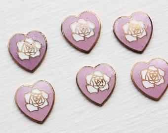 Vintage Japanese Hearts - Pink (x6)
