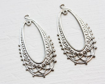Silver Oval Filigree Findings (2x)