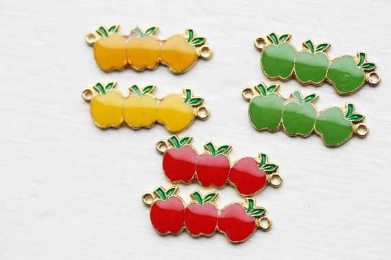 Vintage Red Apple Charms (10x) - Red Only
