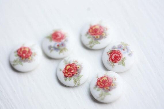 Flat Rose Garden Cabochons (6x)