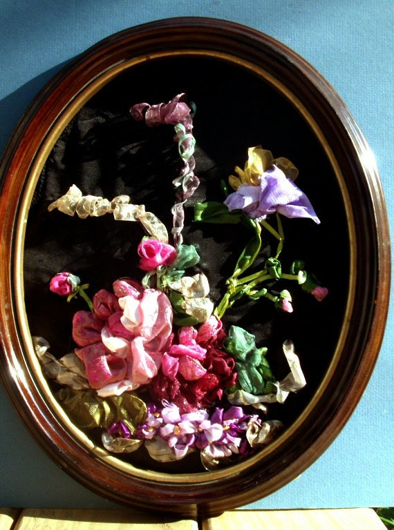 """Ribbon & Stump Embroidery, in  15"""" Tall Ellipse Wood Frame , Bouquet of Nature's Flowers.  A must see."""
