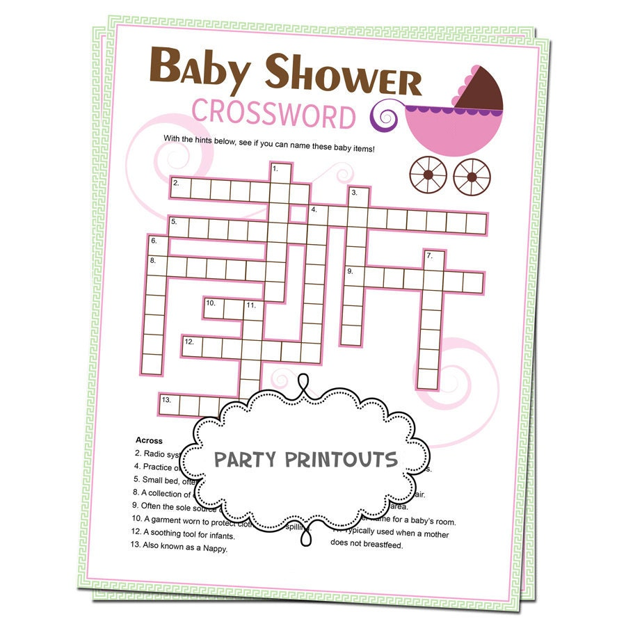 baby shower crossword puzzle game unique custom by partyprintouts