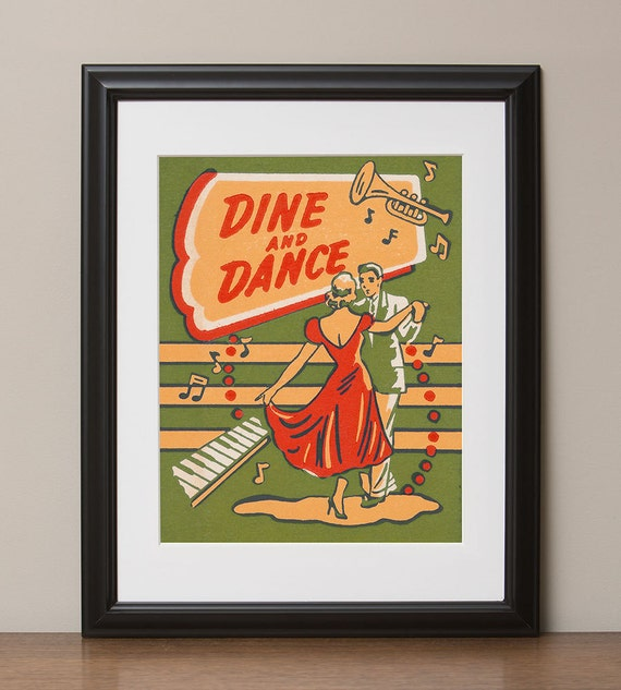 "Dine and Dance Retro Advertising Poster, 11""x14"", No. 005-01"