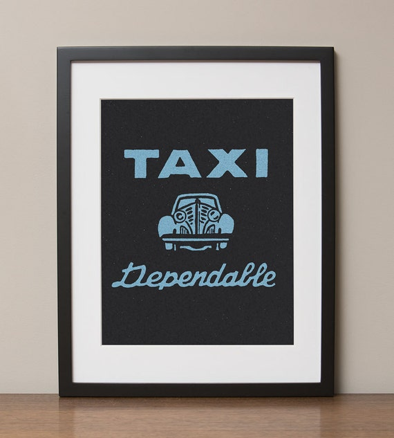 Dependable Taxi Retro Advertising Poster By Hotfishreproretro
