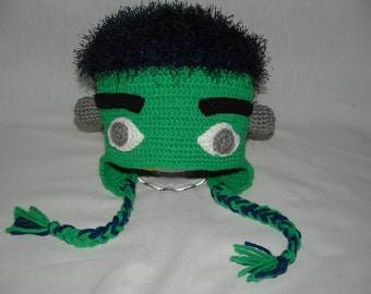 Boy Girl Frankenstein Ear Flap Hat. Any size. Perfect for a gift.