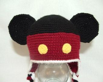 Crochet Soft Warm Yarn Boy Mouse Hat  Earflaps Great Gift or Photo Prop
