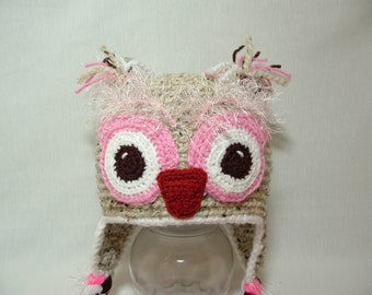 Super Fun Warm Owl Girl Hat. Fuzzy Eyebrows. Black or Oatmeal with Pink. Bland of Lamb's Wool and Acrylik