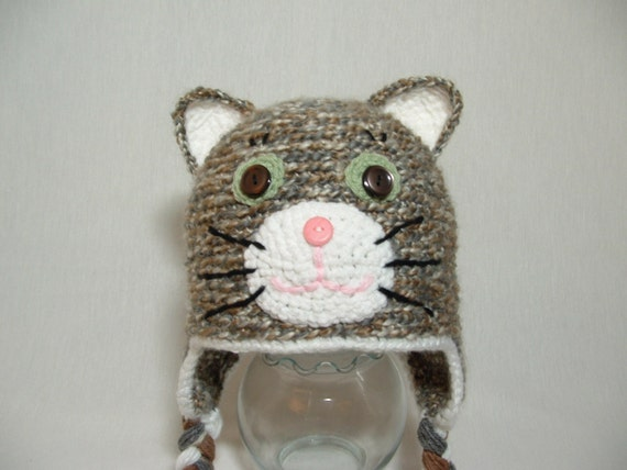 Cute Grey Cat Girl or Boy Soft Warm any Color. Perfect for Winter -- READY TO SHIP ( 2 - 4 years ) ---