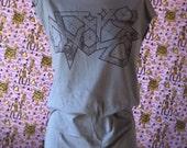 Midnight Black Angular Geometry on Women's Grey / Gray Tunic / Tshirt Dress