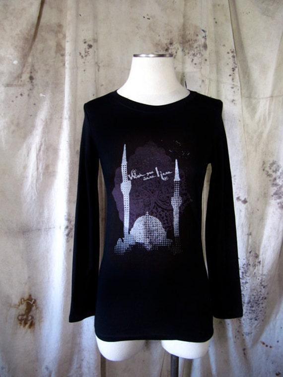 Wish You Were Here long sleeve black Women's shirt