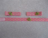 Great Hair Clip with Bracelet: Bumble Bees on Pink Polka Dots