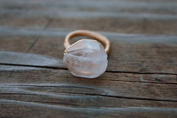 Double Terminated Tibetan Quartz Wire Ring in Gold