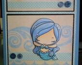 Blue Sparkle Mermaid Handmade Card