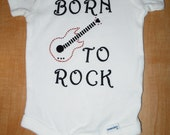 Born to ROCK studded guitar 100 % cotton onsie 6-9 mths
