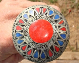 Vintage Afghani Tribal Kuchi Coral Center Lapis Coral Ring