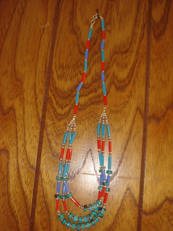 Vintage Casual Fun Egyptian Glass Sterling Triple Strand Necklace