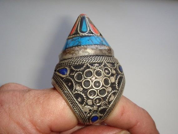 Unusual Vintage Afghani Tribal Kuchi Domed Cone Ring