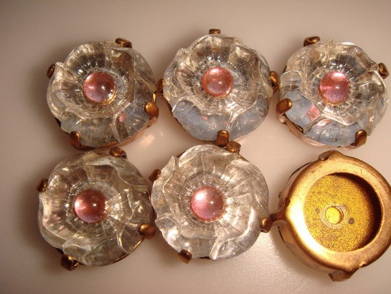 Vintage Antique Pressed Glass Flowers W Rose Center Set Into 4 Hole Reserved For Melanie